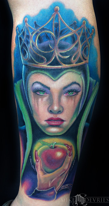 Colored Evil Queen Tattoo On Sleeve