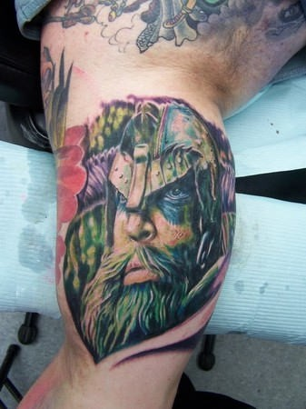 Colored Portrait Of A Viking In A Helmet Tattoo