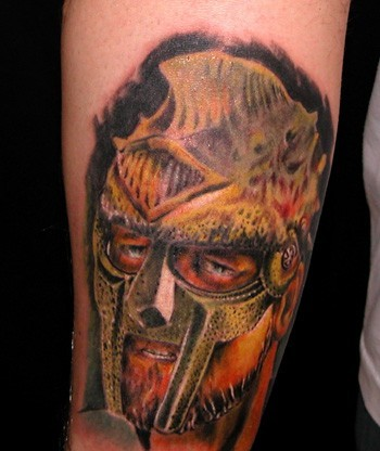 Colored Warrior Portrait Of A Helmet Tattoo