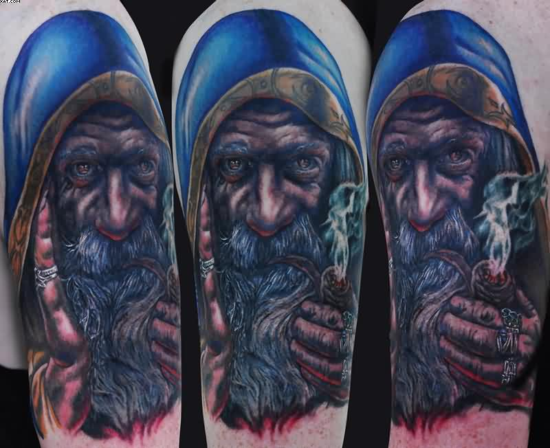 Colored Wizard Portrait Tattoos On Half Sleeve