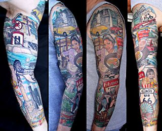 Colorful 50`s America Tattoos On Sleeve