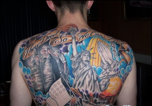 Colorful American Tattoos On Backbody