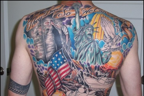 Colorful American Tattoos On Entire Back