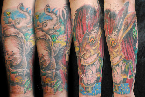Colorful Animal Sleeve Tattoos
