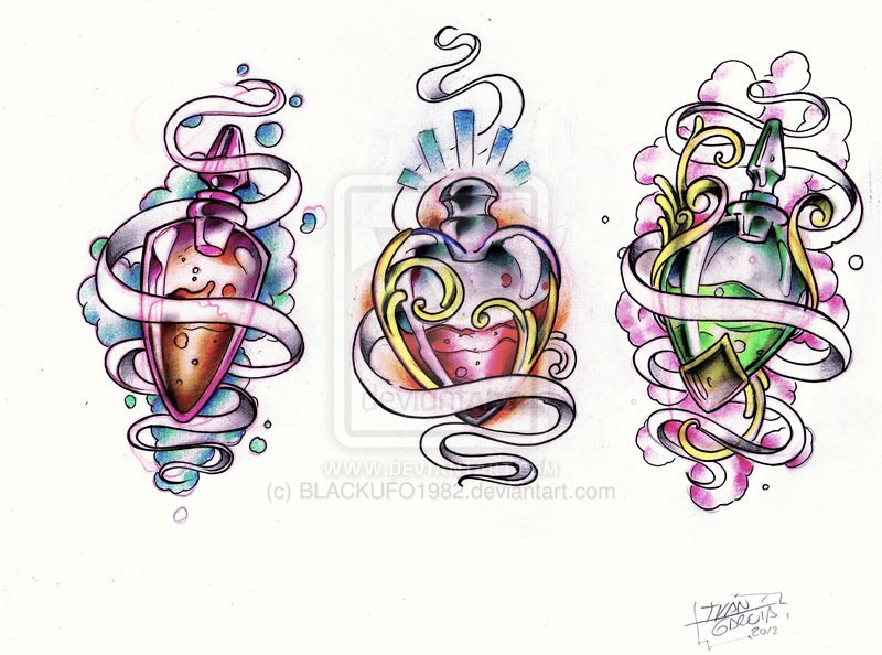 Colorful Bottles Tattoo Desgins