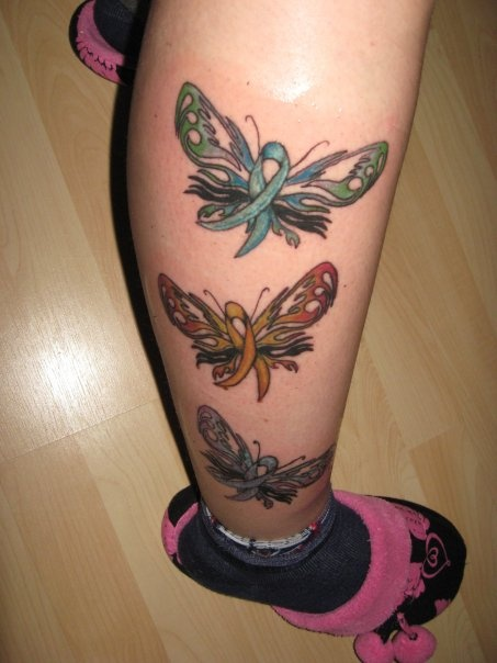 Colorful Butterfly Ribbon Tattoos On Leg
