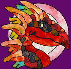 Colorful Dragon Stained Glass Tattoo Print