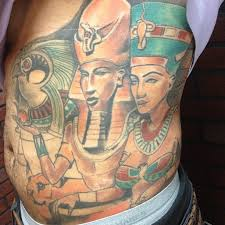 Colorful Egyptian Queen Tattoo On Side Of Rib