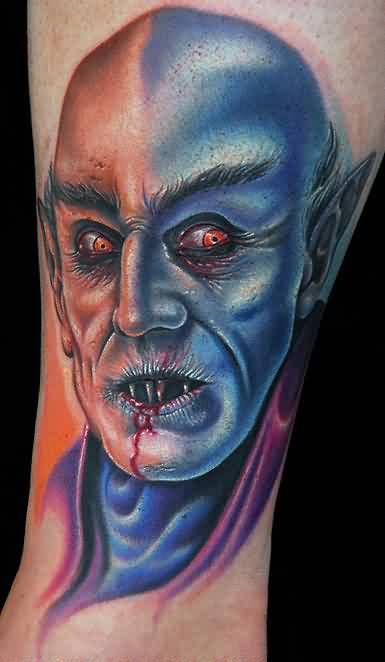 Colorful Evil Portrait Tattoo