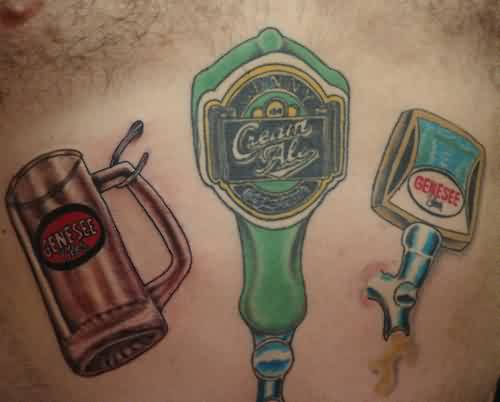 Colorful Glass And Bottle Tattoos On Clean Stomach