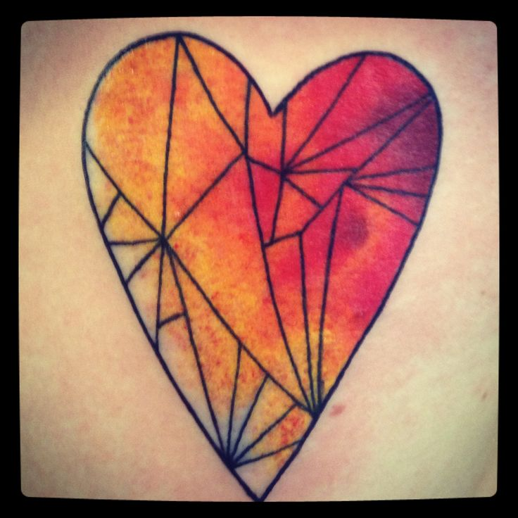 Colorful Glass Heart Tattoo Photo
