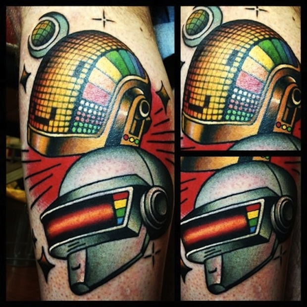Colorful Helmet Tattoos
