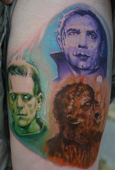 Colorful Monsters Portrait Tattoos On Biceps