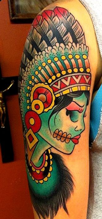 Colorful Native American Girl Tattoo On Half Sleeve