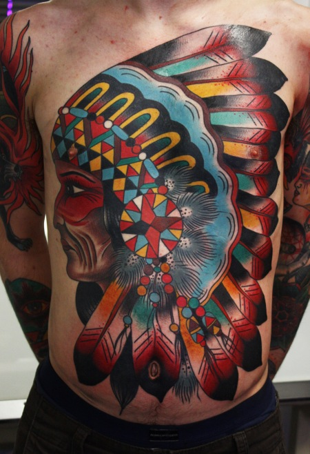 Colorful Native American Head Tattoo On Upperbody