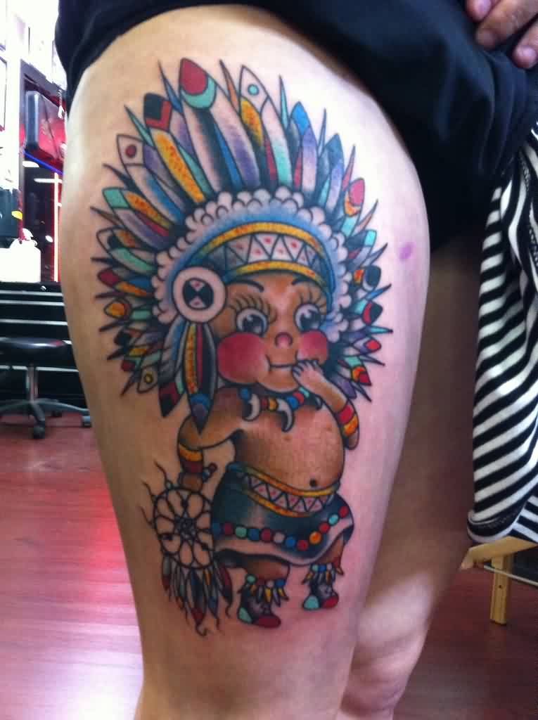Colorful Native American Kid Tattoo On Thigh