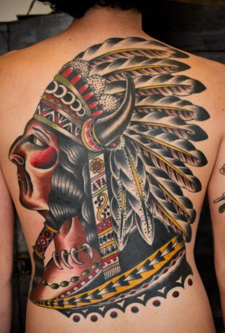 Colorful Native American Tattoo On Backbody