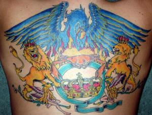 Colorful Queen Crest Tattoo On Backbody