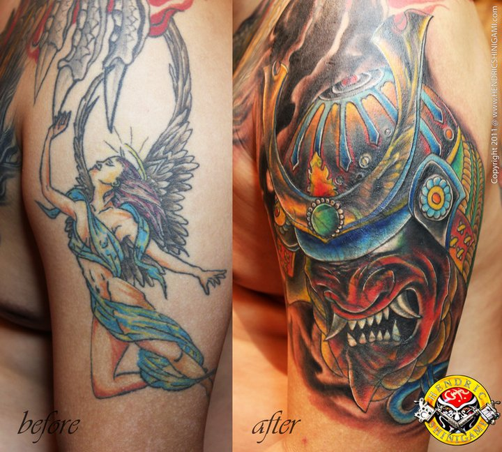 Colorful Samurai Helmet Tattoo