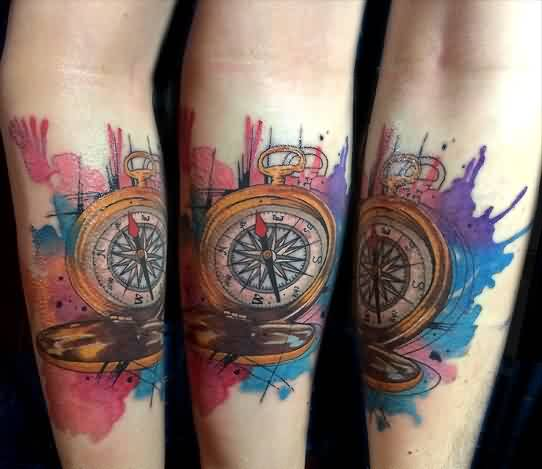 Compass And Watercolor Tattoos