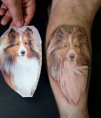 Cool Dog Portrait Tattoo On Leg