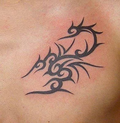 Cool Scorpion Tribal Tattoo On Chest