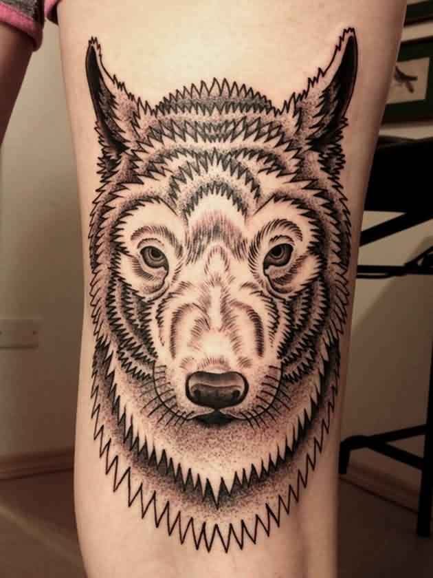 Cool Stylized Wolf Animal Tattoo