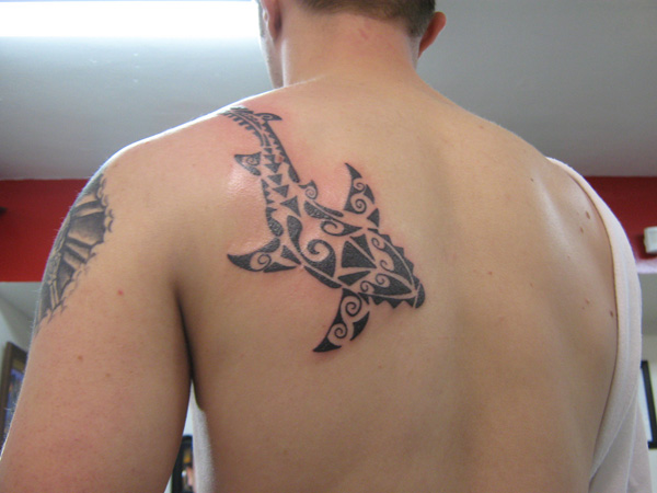 Cool Tribal Shark Tattoo On Back Of Left Shoulder