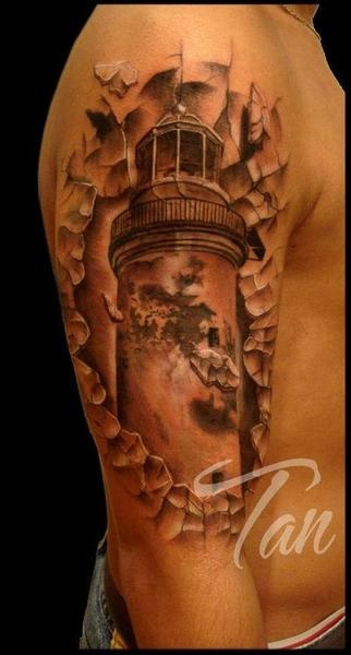 Cracked Lighthouse Tattoo On Half Sleeve