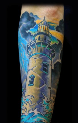 Cracked Lighthouse Tattoo