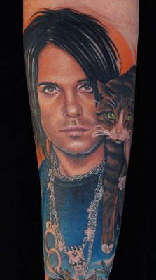 Criss Angel And Cat Portrait Tattoos