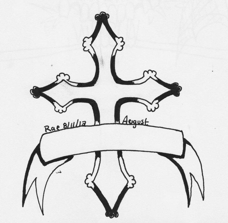 Cross Ribbon Lineart Tattoo Design
