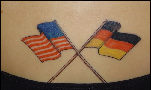 Crossed American And Greek Flag Tattoos On Hip