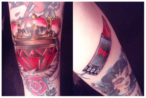 Crown Heart And Lipstick Tattoos