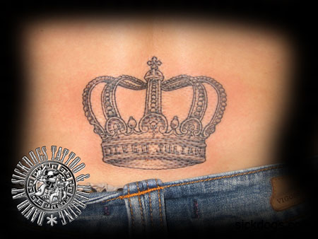 crown names lower back david sickdogs tattoo