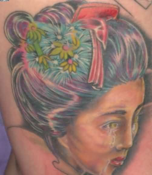 Crying Japanese Lady Portrait Tattoo
