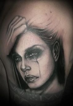 Crying Lady Portrait Tattoo