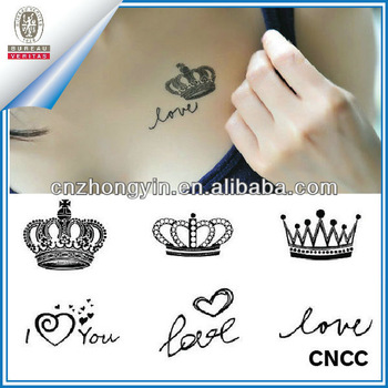 Custom Queen Crown Temporary Tattoo Stickers