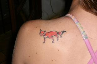 Cute Animal Tattoo On Back Of Shoulder