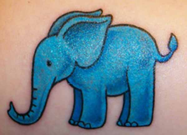 Cute Blue Elephant Animal Tattoo