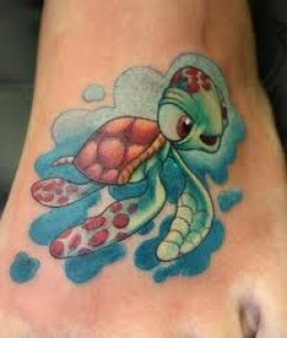 Cute Cartoon Water Animal Tattoo On Foot