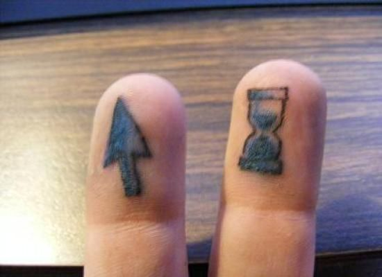 Cute Cursor And Hour Glass Tattoos On Top of Fingers