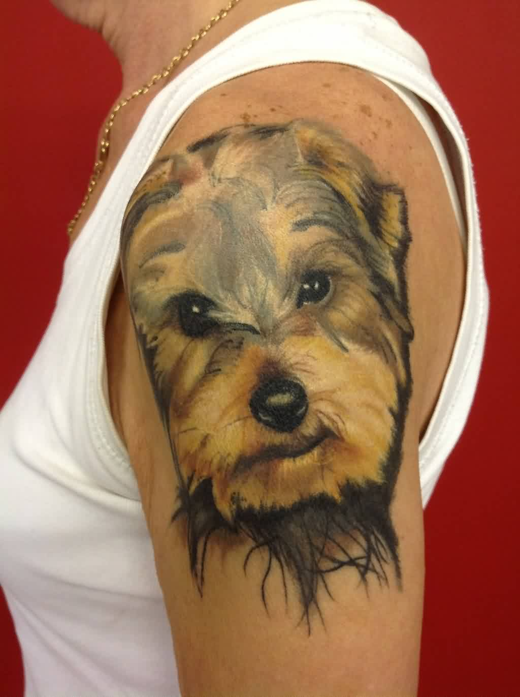 Cute Dog Face Portrait Tattoo On Shoulder