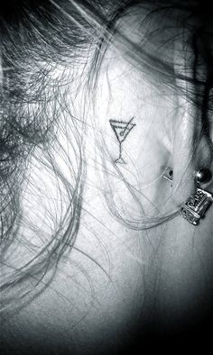 Cute Glass Tattoo Behind Ear