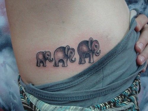 Cute Grey Walking Elephant Tattoos On Ribs