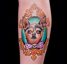 Cute Puppy Portrait In Frame Tattoo