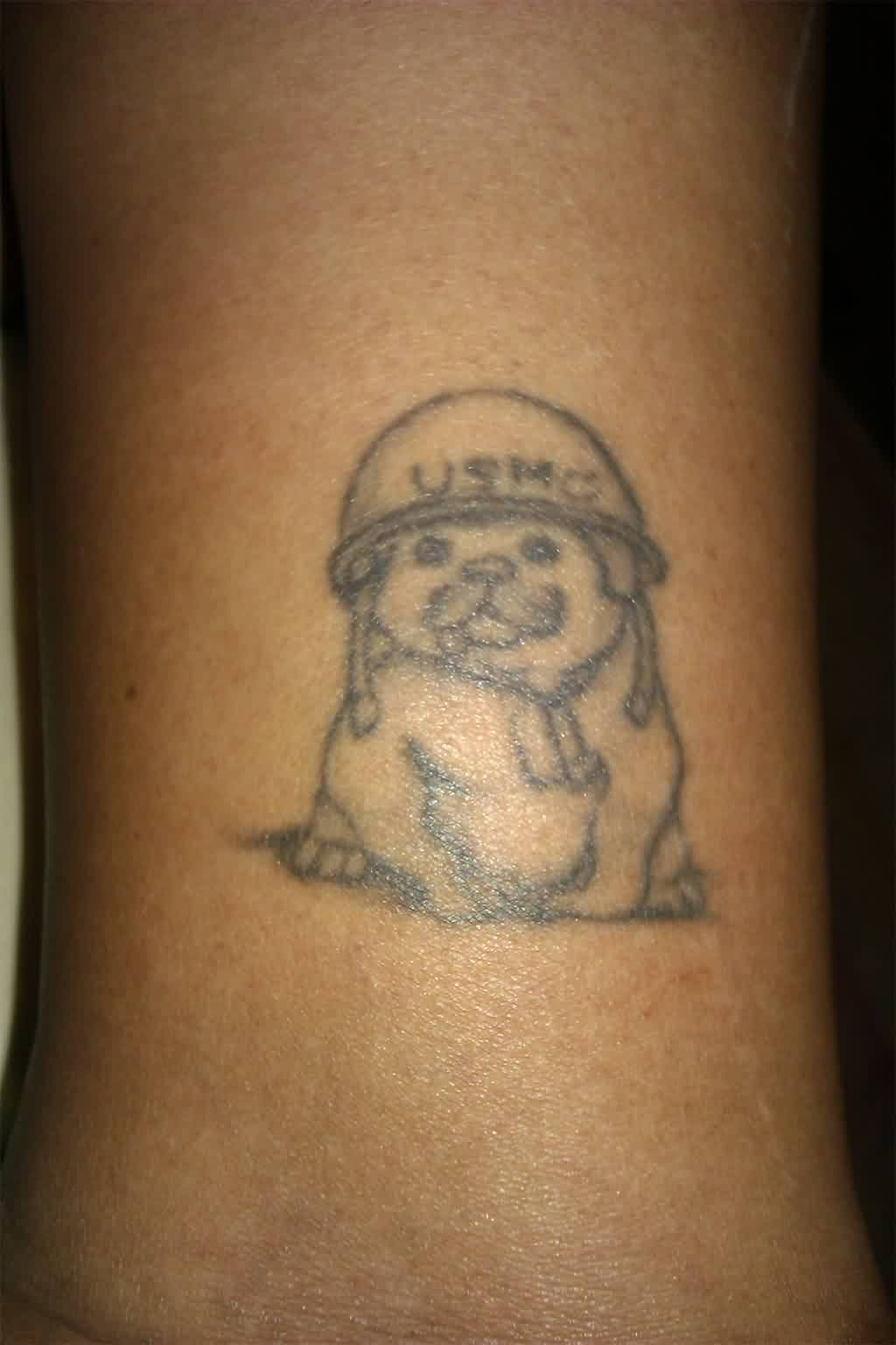 Cute Puppy Wearing USMC Helmet Tattoo