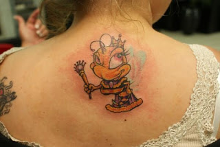 Cute Queen Bee Tattoo On Upperback