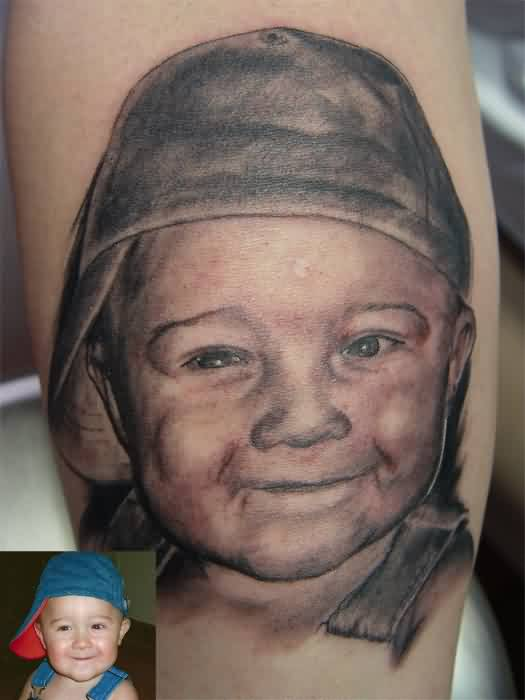 Cute Smiling Baby Portrait Tattoo