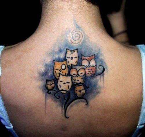 Cute Watercolor Owls Tattoo On Upperback